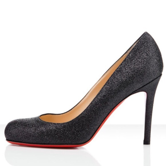 100% authentic brand new factory outlet Christian Louboutin Black Glitter Pumps 100mm 41